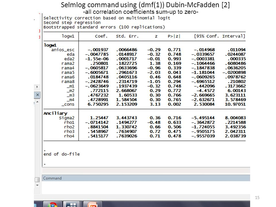 Selmlog command using (dmf(1)) Dubin-McFadden [2]
